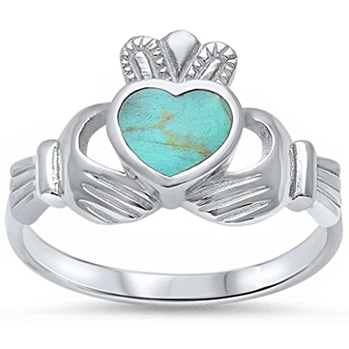 Blue Apple Co. Claddagh Ring Solid 925 Sterling Silver Simulated Green Turquoise Heart Promise Ring
