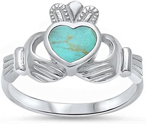 Claddagh Ring Solid 925 Sterling Silver Simulated Green Turquoise Heart Promise Ring