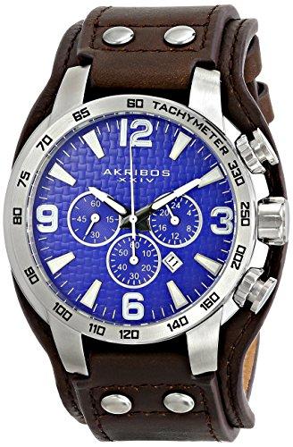 Movement Brown Dial (Akribos XXIV Men's AK727BU Chronograph Quartz Movement Watch with Blue Dial and Brown Genuine Leather Strap)