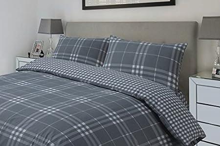 Hotel Linens pm Motivo a quadretti, colore: grigio a quadri set copripiumino reversibile, Cotone, Grey, Singolo