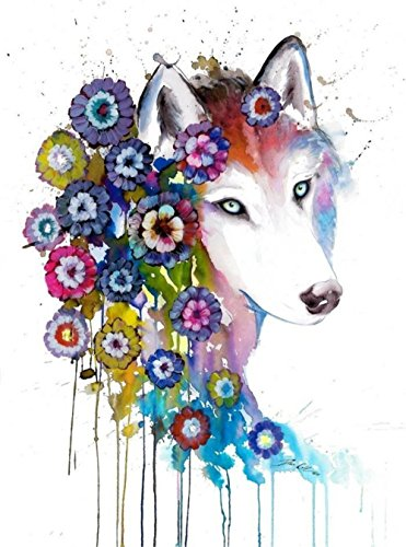 Painting Gemstone - TianMai Hot New DIY 5D Diamond Painting Kits Diamond Embroidery Painting Pasted Paint By Number Kit Stitch Craft Kit Home Decor Wall Sticker - Flower Wolf, 30x40cm