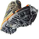 Ice Snow Cleat Spikes Crampons - YUEDGE 18 Steel Teeth Ice Snow Antiskid Crampons Spikes Grips Traction Cleats With Velcro Straps For Winter Walking Fishing Hiking(L)