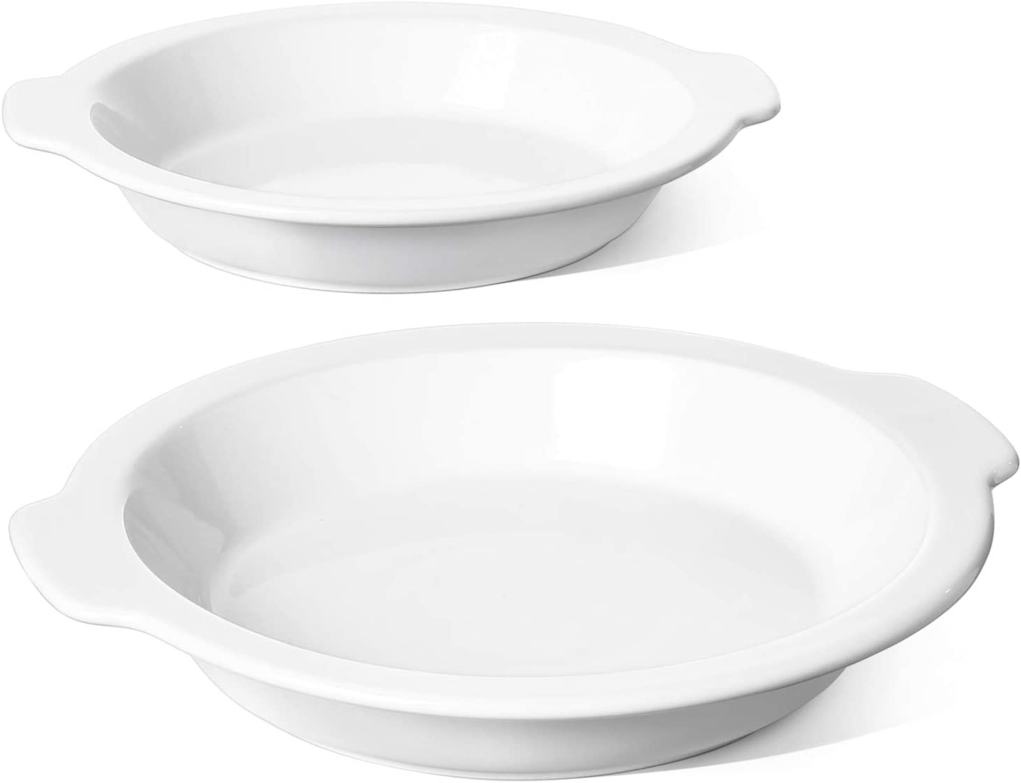 LE TAUCI 9 Inch Pie Pan with Handles, 36 Ounce Pie Plates, Deep Dish Pie Pans For Apple Pie, Pecan Pie, Set of 2, White