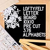 Letter Board 10 x 10 inches Black Felt Letter Board with PRE-Cut 376 Letters, Emojis, Free Letter Box Organizer. Changeable Letter Board Made with Solid Oak Frame with Mounting Hooks and Tripod Stand