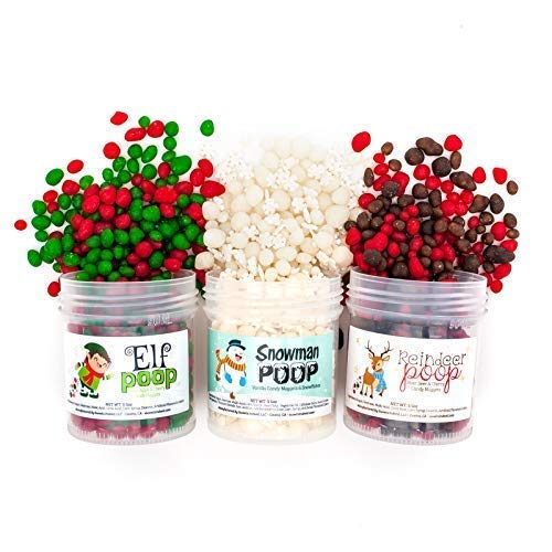 Holiday Candy Poop Pack   Elf, Reindeer, Snowman POOP Candy: 3-pack   Delicious Fruit Candy