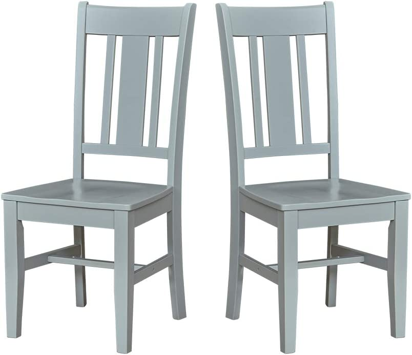 "Amazon Brand – Ravenna Home Classic-Style Solid Pine Dining Chair, 40""H, Gray Finish, Set of 2"