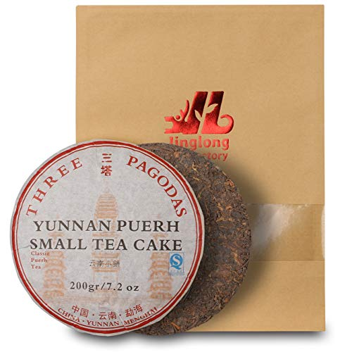 (Puerh Tea Cake - Three Pagodas (Santa) - (80+ cups) Ripe Pu Erh Tea -100% Natural Chinese Yunnan Black Fermented Compressed Aged Menghai Shou Pu-erh Tea - High Caffeine Level (200g\7.2oz))