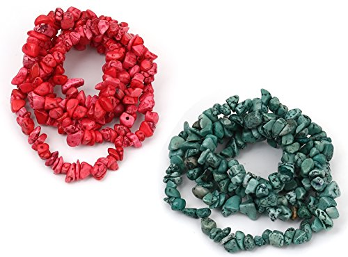 Howelite Turquoise Bead 33 inch Strands, 2 Pack, Irregular 5-13mm (1/8-1/2 inch), 0.7mm Hole (Red/Green) -
