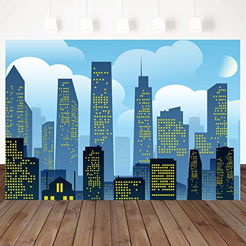 Mehofoto Superhero Backdrops Blue Sky City Scape Buildings Background for Photography 7x5ft Birthday Party Baby Shower Banner Decor Vinyl Photo Studio Background -