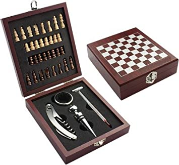 Wooden Chess Board Game Wine Gift Set With Wine Opener, Drip Collar, Bottle  Stopper