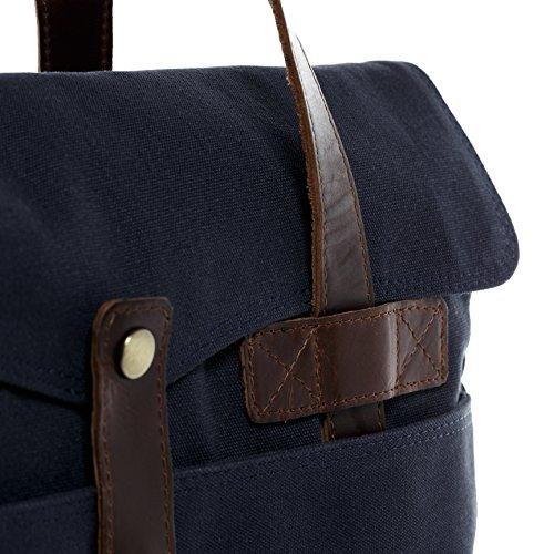 SID & VAIN bolso ordenador portátil CHASE - piel genuina azul - bolso para hombro - L - Bolso para notebook (42 x 35 x 10 cm) azul-marrón