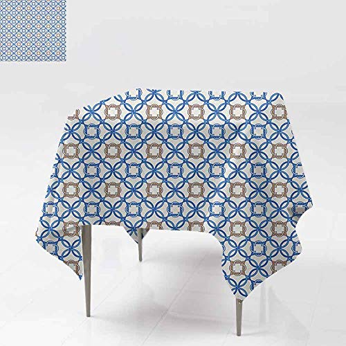 SONGDAYONE Soft Square Tablecloth Quatrefoil Ancient Delft Blue Inspired Pattern Intricate Old Dutch Tile Motifs Easy to Care Pale Brown Blue White W63 xL63