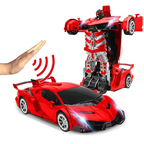Transform RC Car Robot, 360° Rotating Toys Transformers Robot, One-Button Gesture Induction Deformation Function Car Toy with Sounds LED Lights for Kids Christmas Birthday Gift- Red Rambo