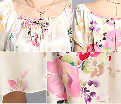 Verano Chemise Las Manga Camisón Moda Corta Cuello Vintage Redondo Schwarz Ropa Impreso Mujeres Dormir De Esencial Suelta Elegante Pijama wv5qZCS