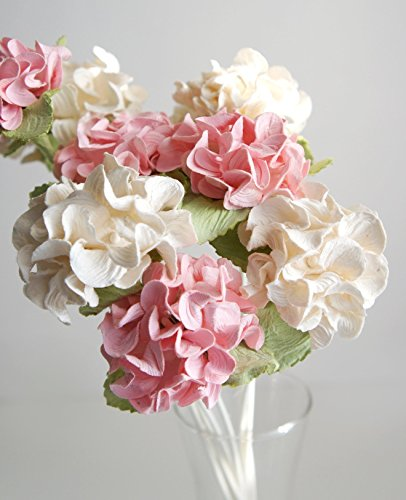 Plawanature Set of 6 White - Pink Hydrangea Mulberry Paper Flower with Reed Diffuser for Home Fragrance Aroma Oil.