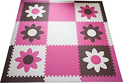 "SoftTiles Flowers Premium Interlocking Foam Large Children's Playmat 78""x 78"""