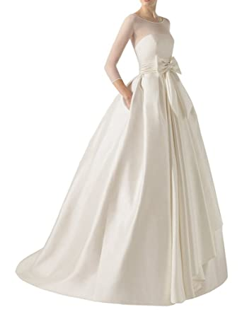 211cd35594 MengLu White Satin Sash Scoop Long Empire Wedding Dress Bridal Ball Gown  Size 2