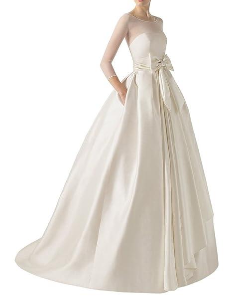 Ebelz Vestido de bola vestido de novia blanco marco del satén de la cucharada de Empire
