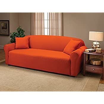 This Item Madison Stretch Jersey Tangerine Sofa Slipcover Solid