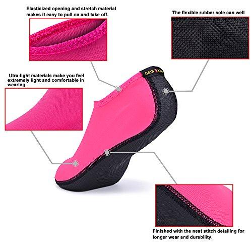 JACKSHIBO Männer Frauen und Kinder Quick-Dry Wasser Haut Schuhe Aqua Socken Für Wassersport Schwimmen Surf Yoga Exercise Beach Rosa