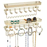 mDesign Decorative Metal Closet Wall Mount Jewelry Accessory Organizer for Storage of Necklaces, Bracelets, Rings, Earrings, Sunglasses, Wallets - 8 Large /11 Small Hooks/1 Basket, 2 Pack, Gold Brass
