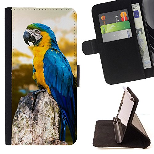 God Garden - FOR Apple Iphone 4 / 4S - Macaw - Glitter Teal Purple Sparkling Watercolor Personalized Design Custom Style PU Leather Case Wallet Fli