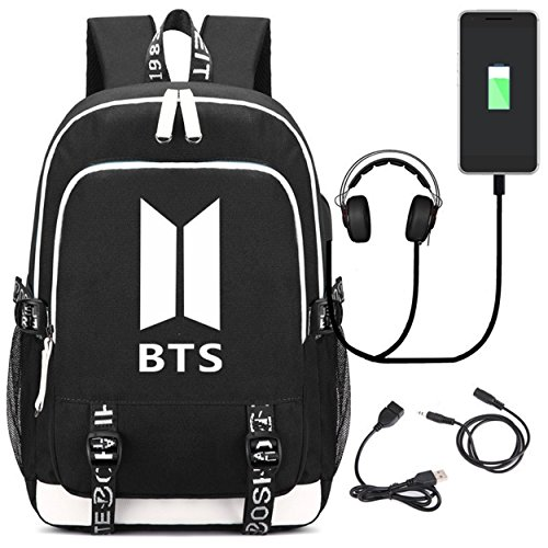 AUGYUESS Luminous KPOP Bangtan Boys BTS School Bag Daypack Shoulder Bag Bookbag Backpack with USB Charging Port (Black) For Sale