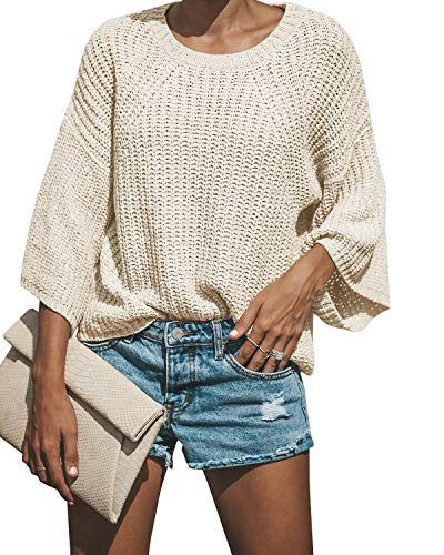 Faisean Womens Oversized Crewneck Batwing Loose Knitted Sweaters 3/4 Sleeve Pullovers ()