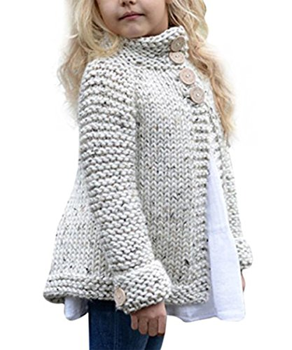 (Toddler Baby Girls Autumn Winter Clothes Button Knitted Sweater Cardigan Cloak Warm Thick Coat Beige)
