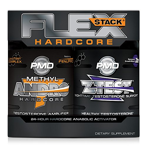 PMD Sports Flex Stack Hardcore 24-Hour Healthy Testosterone Stack For Increased Muscle Mass, Strength, Reduce Soreness, Libido And Restful Sleep - Methyl Andro Hardcore 90 Capsules, Z-Test 90 Capsules (Best Testosterone Stack Cycle)