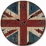 british clock - Telisha Wooden Wall Clock UK British Flag Union Jack Clock Retro Vintage Large Clock Home Decorative Country Non -Ticking Silent Quiet 14 Inch Gift