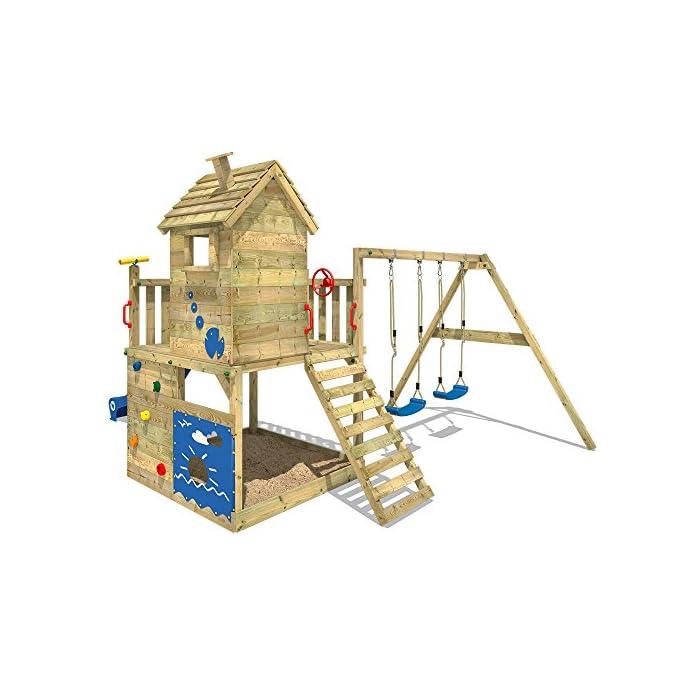 51TnMG7Y4uL WICKEY Torre de escalada incl. juego de accesorios completo con tobogán, columpio doble y cajón de arena Viga de columpio de 9x9cm, postes verticales de 7x7cm - Calidad-y- seguridad verificadas - Made in Germany Madera maciza impregnada a presión - Varias opciones de montaje - Instrucciones de montaje sencillas y detalladas