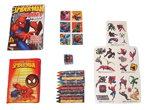 (Marvel Spider-man Activity Gift Set ~ Web-slinging Super Hero (Giant Activity Pad, Stickers, Puzzle Cube, Temporary Tattoos, Journal with Velcro Tab, Crayons; 6 Items, 1)