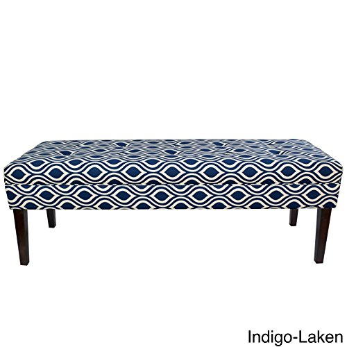 MJL Furniture Designs Kaya Collection Upholstered and Padded Button Tufted Accent Bedroom Bench, Nicole Series, Indigo Room Accent Custom Upholstered Furniture