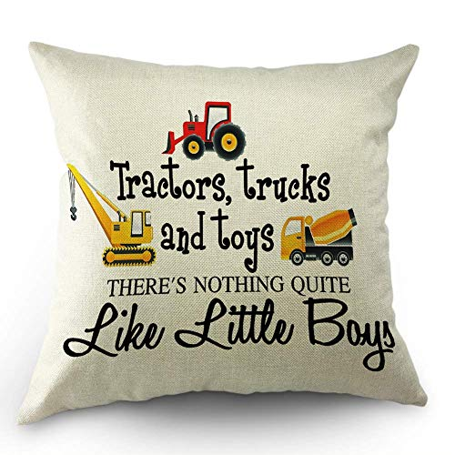 HL HLPPC Tractors Trucks Throw Pillow Case Tractors Trucks and Toys There's Nothing Quite Like Little Boys Cotton Linen Cushion Cover 18 x 18 Inches Standard Square Decorative Pillow Cover