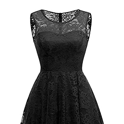 MUADRESS Women's Vintage Floral Lace Sleeveless Hi-Lo Cocktail Formal Swing Dress: Clothing