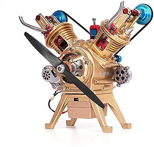Hwhwxs Car Model Engine Model kit, V 2 Cylinder Engine Model 217 Parts All-Metal Motor Model Lover