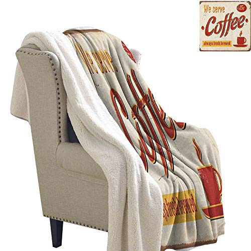Suchashome Retro for Bed/Couch/Chair in Livingroom or Bedroom Tin Rusty Faded Fresh Brewed Coffee Print from Old Days Fifties Style Art Work Blanket Small Quilt 60x78 Inch Cream Red Orange
