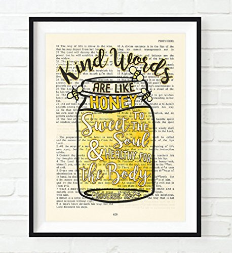 Vintage Bible verse scripture - Kind Words are Like Honey - Proverbs 16:24 ART PRINT, UNFRAMED, Mason Jar with Bumble Bees Christian dictionary wall & home decor poster, Inspirational gift