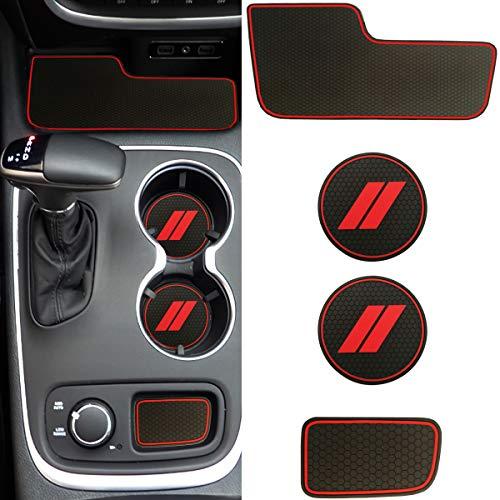 Custom fit for 2014+ Dodge Durango Cup Holder Insert & Center Console Liner Trim Mats   5pc Custom Fit Non Slip Storage Bin Mat Set   2014 2015 2016 2017 2018 2019 2020 Durango Interior Accessories