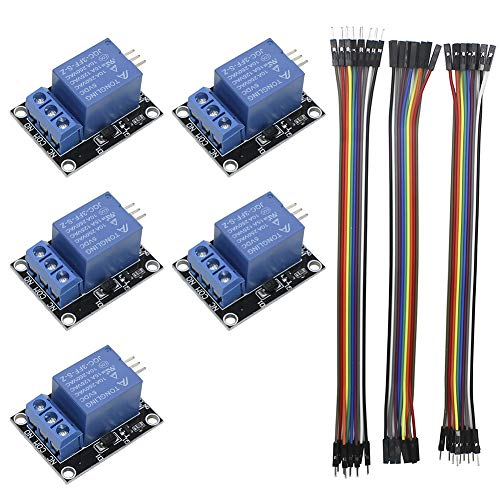 KeeYees 5pcs 1 Channel 5V Relay Module Board Shield KY-019 LED Indicator for Arduino Raspberry Pi PIC AVR DSP ARM + 3pcs 20CM 10Pin Female Male Dupont Jumper Wires ()