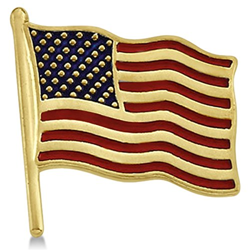 14k Yellow Gold American Flag (14K Yellow Gold American Flag Lapel Pin with Red and Blue Enamel Stripes Unisex)