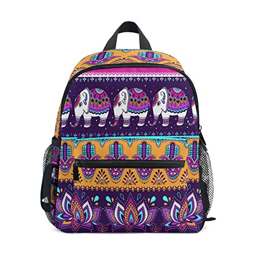 Elephant Pre Bag ZZKKO indian School Toddler for Girls Flower Ethnic Boy Backpack Tribal Kids Kindergarten Colorful vqBFBIUa