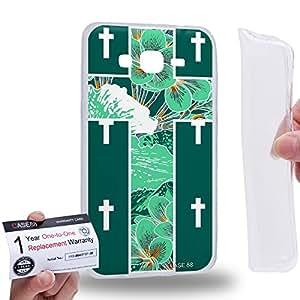 Case88 [Samsung Galaxy Grand Prime] Gel TPU Carcasa/Funda & Tarjeta de garantía - Art Green Floral Cross Symbols Art1216