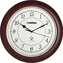 Lorell Wall Clock with Arabic Numerals, 13-1/2-Inch, White Dial/Mahogany