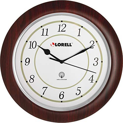Wall Lorell Clock - Lorell Wall Clock with Arabic Numerals, 13-1/2-Inch, White Dial/Mahogany