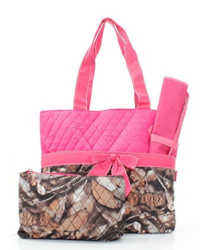 Quilted-Hot-Pink-And-Natural-Camo-Print-Monogrammable-3-Piece-Diaper-Bag-With-Changing-Pad-Tote-Bag