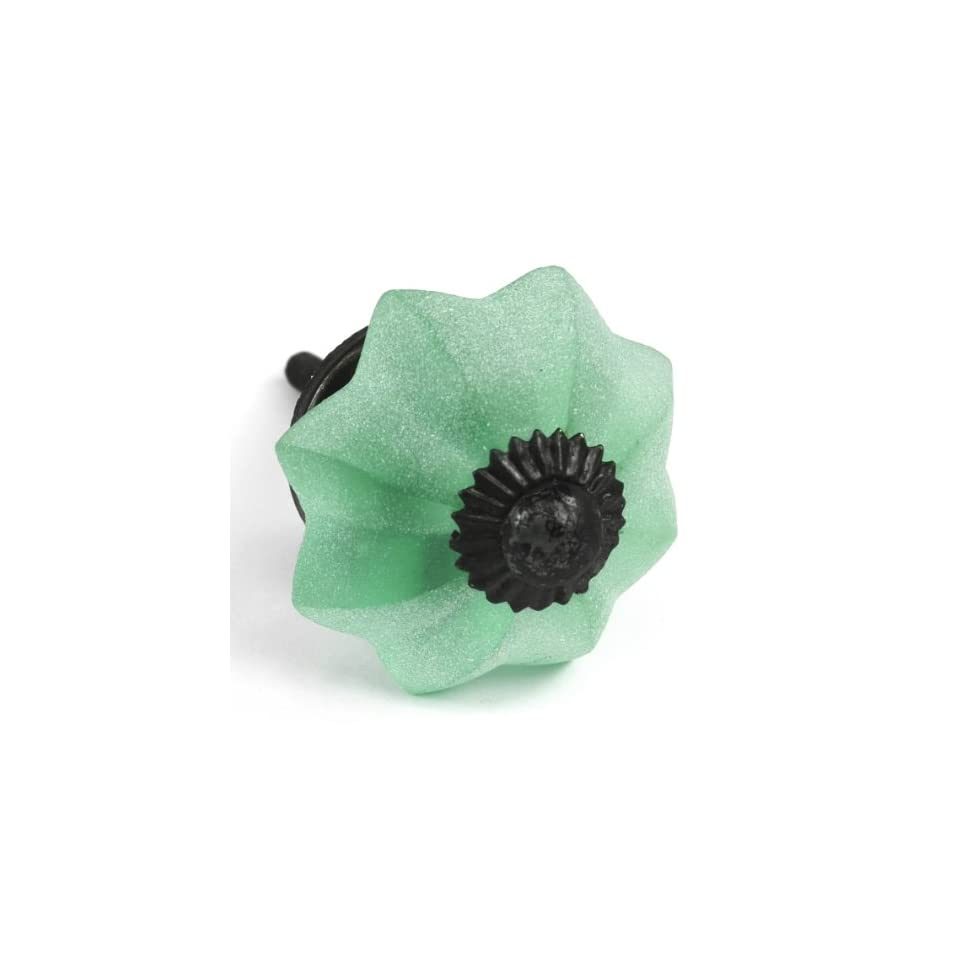 Green Frosted Glass Melon Cabinet Knobs, Drawer Pulls, Handles, Hardware 4pc ~ K137 Chic Resort Style Melon Glass Knobs with Frosted Beach Glass Finish   Cabinet And Furniture Knobs