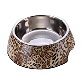 Cheap RayLineDo Small Leopard 2 in 1 Melamine Plastic Stainless Steel Non Skid Dog Puppy Cat Pet Bowl Pet Feeding Watering Supplies