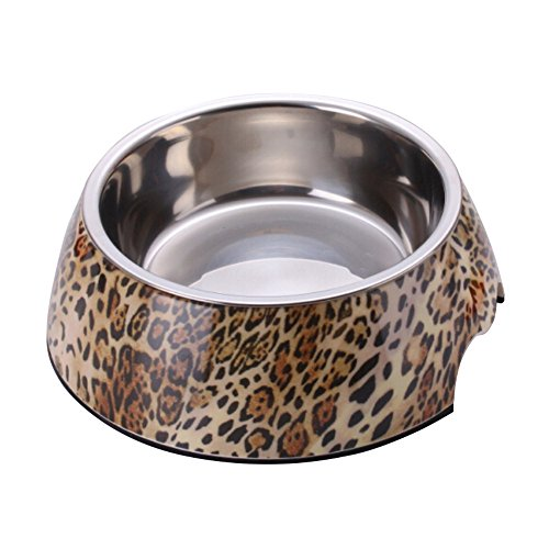 RayLineDo Small Leopard 2 in 1 Melamine Plastic Stainless Steel Non Skid Dog Puppy Cat Pet Bowl Pet Feeding Watering Supplies